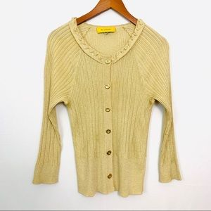 St. John | Metallic Gold Ribbed Knit Cardigan Sz M